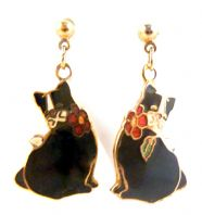 Vintage Dainty Black Cat Cloisonne Enamel By Fish And Crown.